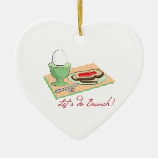 Do Brunch Double-Sided Heart Ceramic Christmas Ornament