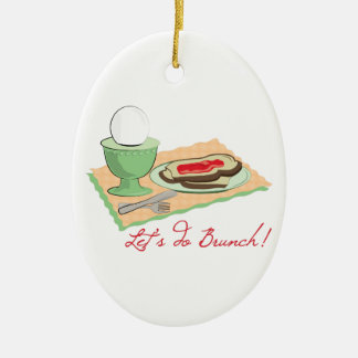 Do Brunch Double-Sided Oval Ceramic Christmas Ornament