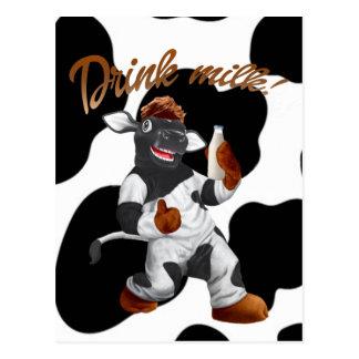 Do Cows Drink Milk Cow With Milk Bottle Postcard