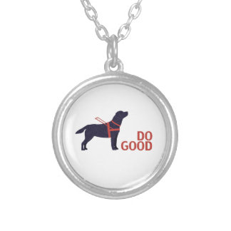 Do Good - Service Dog - Black Lab Silver Plated Necklace