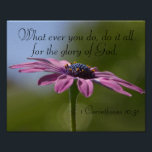 """do it all for the glory of God bible verse poster<br><div class=""""desc"""">The bible verse poster is made with a pretty purple daisy flower with scripture from 1 Corinthians 10:32 &quot;What ever you do,  do it all for the glory of God.&quot;</div>"""