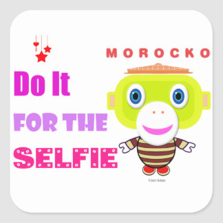 Do it for the selfie-Cute Monkey-Morocko Square Sticker