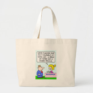 do it yourself bookshop paper pencils large tote bag