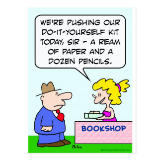 do it yourself bookshop paper pencils postcard