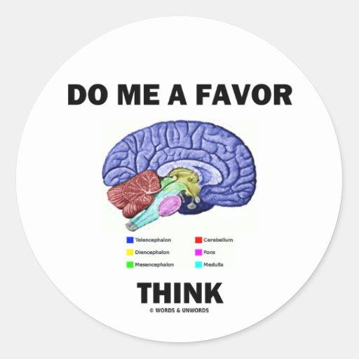 Do Me A Favor Think (Brain Anatomy Humor) Classic Round Sticker