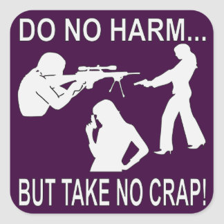 Do No Harm But Take No Crap Square Sticker