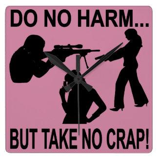 Do No Harm But Take No Crap Square Wall Clock