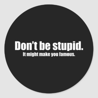 Do Not Be Stupid It Might Make You Famous Classic Round Sticker