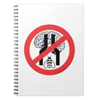 Do Not Bee Narrow Brained RD BLK WH. Note Book