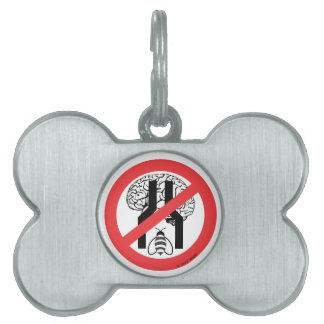 Do Not Bee Narrow Brained RD BLK WH. Pet Tags
