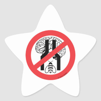 Do Not Bee Narrow Brained RD BLK WH. Star Sticker