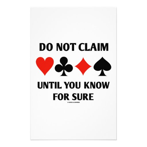 Do Not Claim Until You Know For Sure (Card Suits) Stationery Design