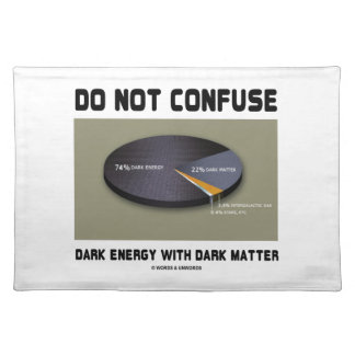 Do Not Confuse Dark Energy With Dark Matter Placemat