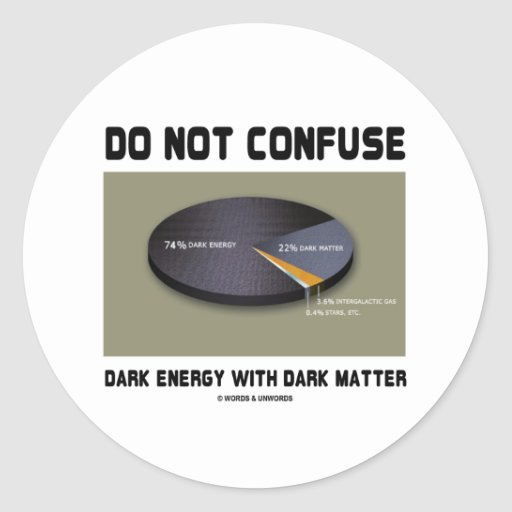 Do Not Confuse Dark Energy With Dark Matter Stickers