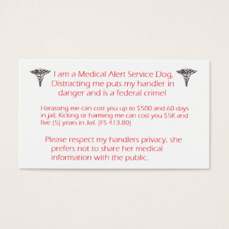 Do NOT Distract service dog- federal crime! Business Card