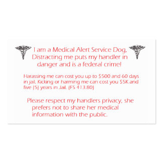 Do NOT Distract service dog- federal crime! Business Card Templates