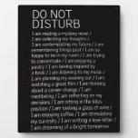 Do not disturb display plaque