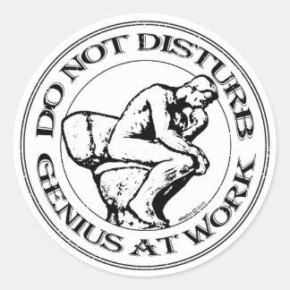 Do Not Disturb, Genius AT Work (B&W stamp) Classic Round Sticker