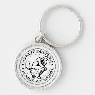Do Not Disturb, Genius AT Work (B&W stamp style) Keychain