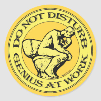 Do Not Disturb, Genius AT Work (Colour stamp) Classic Round Sticker