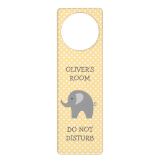 Do not disturb gray elephant nursery door hanger