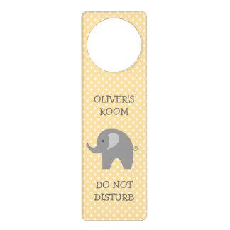 Do not disturb gray elephant nursery door hanger