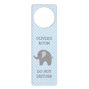 Do not disturb grey elephant nursery door hanger