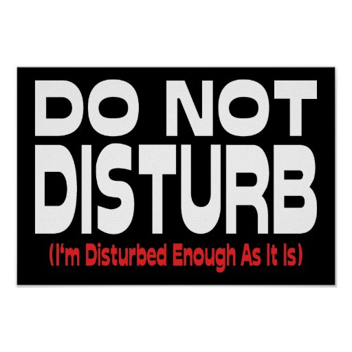 Do Not Disturb - I'm Disturbed Enough As It Is Poster