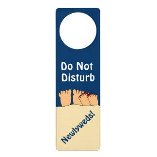 Do Not Disturb Newlyweds Cartoon Feet Door Sign Door Hanger