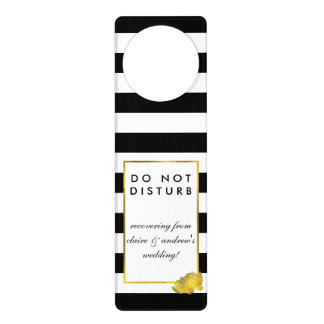 Do Not Disturb Wedding Sign Black Stripe & Gold