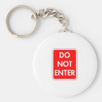 Do Not Enter Basic Round Button Keychain