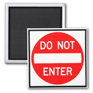Do Not Enter Highway Sign 2 Inch Square Magnet