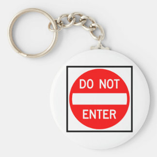 Do Not Enter Highway Sign Keychain