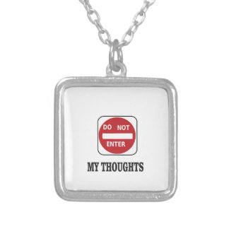 do not enter right now silver plated necklace