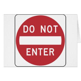 DO NOT ENTER Road Sign Card