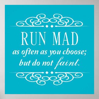 Do Not Faint Jane Austen Quote Poster Print (Aqua)