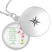 Do Not Fear, Courage Scriptures Sweet Pea Locket
