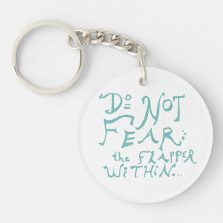 Do Not Fear the Flapper Within Checkered Keychain