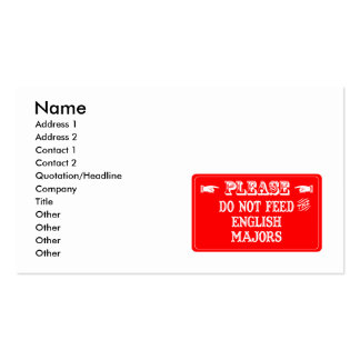 Do Not Feed The English Majors Double-Sided Standard Business Cards (Pack Of 100)