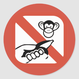 Do Not Feed The Monkey (2) Classic Round Sticker