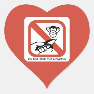 Do Not Feed The Monkey I Heart Sticker