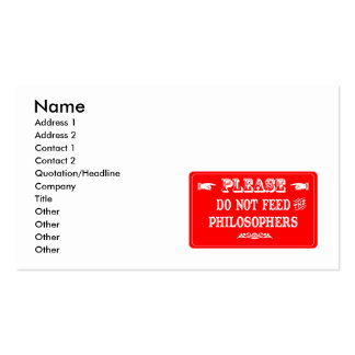 Do Not Feed The Philosophers Business Cards
