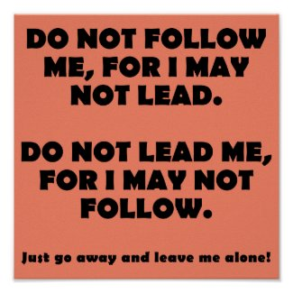 Do Not Follow Or Lead Funny Poster Sign