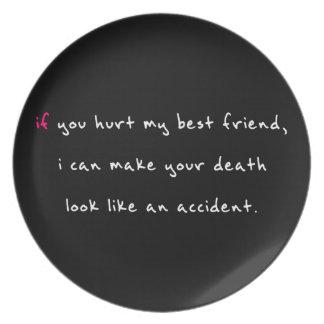 Do Not Hurt My Best Friend Dinner Plate