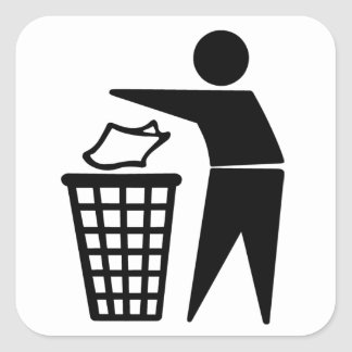 Do Not Litter Symbol Square Sticker