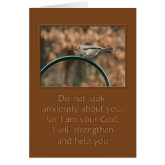 do not look anxiously about you bird on arch greeting card