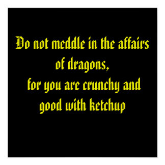 Do not meddle in the affairs of dragons, for yo... poster