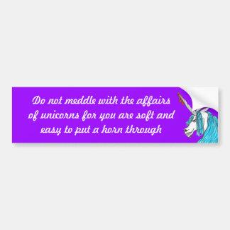 do not meddle with unicorns bumper sticker car bumper sticker