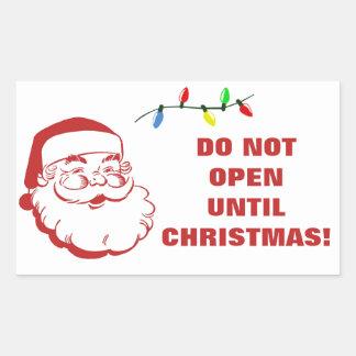Do Not Open Until Christmas Santa Warning Rectangular Sticker