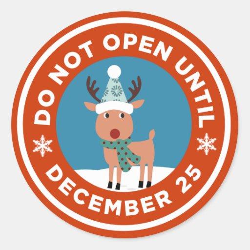Do Not Open Until Christmas Sticker (CUSTOM COLOR)